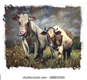 Cows Vintage Torn Edges