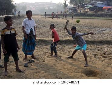 COX BAZA, BANGLADESH- 12 JANUARY 2018. Some children playing cricket at the camp rohingya Balukhali.