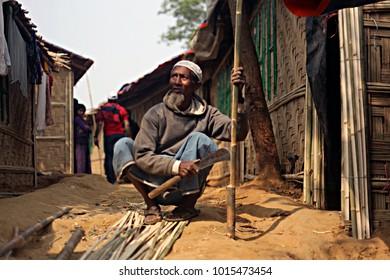 COX BAZA, BANGLADESH-12 JANUARY 2018. Rohingya living in temporary camps in Cox baza.