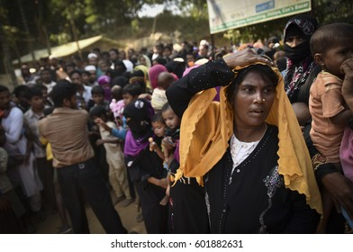 COX' BAZAR, BANGLADESH - MARCH 16, 2017 : Rohingya refugees from Myanmar in Kutupalong refugee camps near Cox's Bazar, Bangladesh