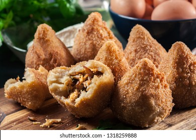 Coxinha. Fried croquette with chicken. Brazilian snacks