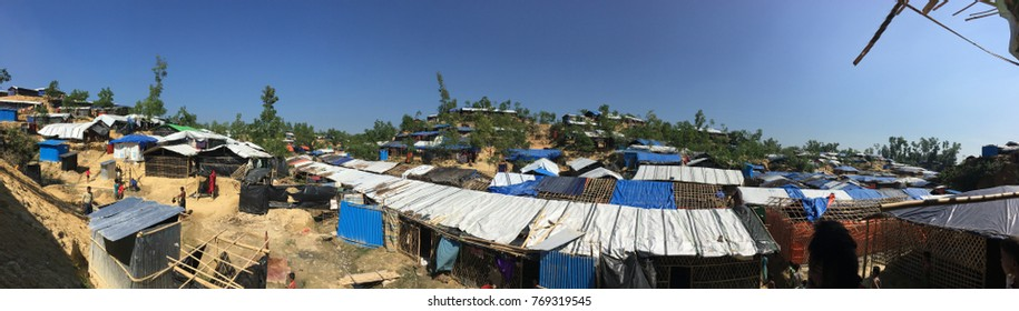 COX'S BAZAR, BANGLADESH: NOVEMBER 18, 2017- Crowded! .. views of the huts built and inhabited by Rohingya in the Ukiah area. About 700k ethnic Rohingya escaped to Bangladesh due to cruelty in Myanmar.