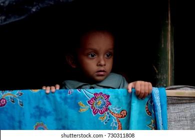 COX'S BAZAR, BANGLADESH : OCTOBER 8, 2017 - Portrait of Rohingya children in Kutupalong Refugee Camp.