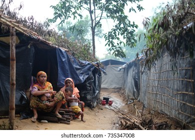 COX'S BAZAR, BANGLADESH: OCTOBER 9.2017- The Rohingya's mother in Kutopalong Refugees Camp. About 600,000 refugees come to Bangladesh to save their lives in the brutal violence in Myanmar.