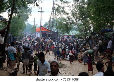 COX'S BAZAR, BANGLADESH: OCTOBER 9,2017- Crowd of Rohingya people in Kutopalong. About 600,000 Rohingya refugees coming to Bangladesh to save their lives in the atrocities happen in Myanmar.