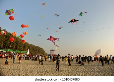 COX's BAZAR, BANGLADESH-JANUARY 01, 2016: Participants, mostly youths, flying kites of various colures and varieties during a Traditional kite festival on Cox's Bazar Sea beach, Bangladesh.