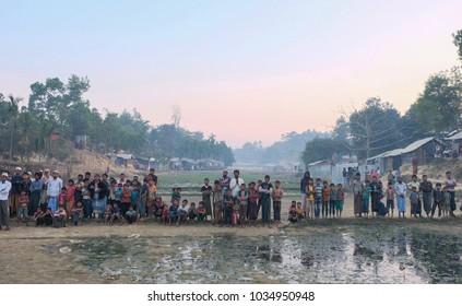 COX'S BAZAR, JANUARY 26 2018 -- Muslim Rohingya waiting the foods in the refugee camp at balukhali Bangladesh.