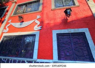 COYOACAN, MEXICO CITY, MEXICO-20 APRIL, 2018: Beautiful Coyoacan streets and houses in historic district that hosts Frida Khalo museum and is favoured by tourists