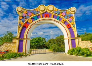 COYOACAN, MEXICO - JANUARY 10, 2018: Beautiful enter of huge arch of the enter of touristic tram in Coyoacan, Mexico. The name comes from Nahuatl, Aztec langage, and most likely means place of coyotes