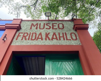 Coyoacan, Mexico - July 7, 2013: Blue House (La Casa Azul), historic house and art museum dedicated to the life and work of Mexican artist Frida Kahlo.
