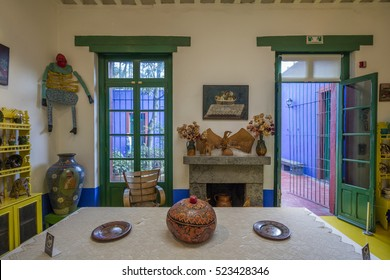 COYOACAN, MEXICO - NOV 1, 2016: Inside of the Exhibition of the Blue House (La Casa Azul), historic house and art museum dedicated to the life and work of Mexican artist Frida Kahlo