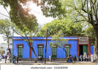 COYOACAN, MEXICO - NOV 1, 2016: Blue House (La Casa Azul), historic house and art museum dedicated to the life and work of Mexican artist Frida Kahlo