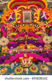 Coyoacan, Mexico - November 1, 2016: Day of the Dead Offering Altar in Blue House (Casa Azul), the Home of Frida Kahlo in Mexico