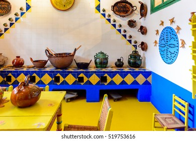 COYOACAN, MEXICO - OCT 28, 2016: Kitchen in the Blue House (La Casa Azul), historic house and art museum dedicated to the life and work of Mexican artist Frida Kahlo