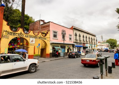 COYOACAN, MEXICO - OCT 28, 2016: Architecture of Coyoacan, Mexico. The name comes from Nahuatl, Aztec langage, and most likely means â??place of coyotes,â?�