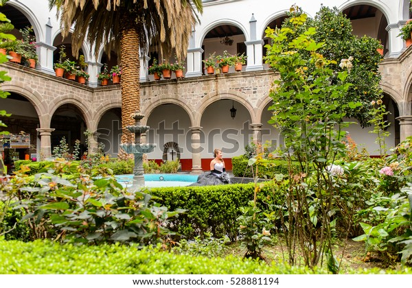 COYOACAN, MEXICO - OCT 28, 2016: Garden of the Parish of San Juan Bautista.  It is one of three oldest churches in Mexico City