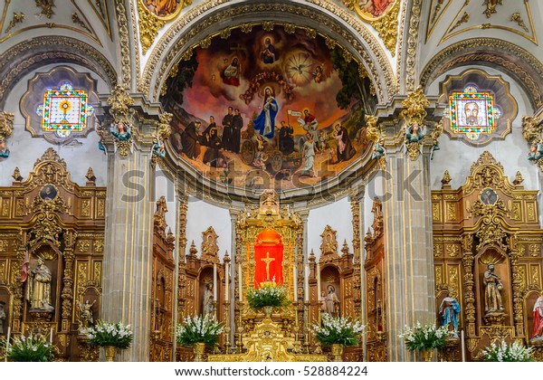 COYOACAN, MEXICO - OCT 28, 2016: Interior Parish of San Juan Bautista.  It is one of three oldest churches in Mexico City