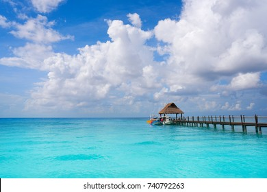 Cozumel island beach pier in Riviera Maya of Mayan Mexico