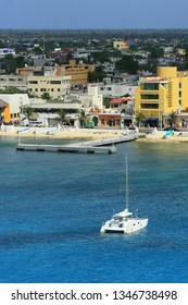 Cozumel, Mexico - April 4, 2008: The coast of Cozumel and it is a famous port of call for cruise.