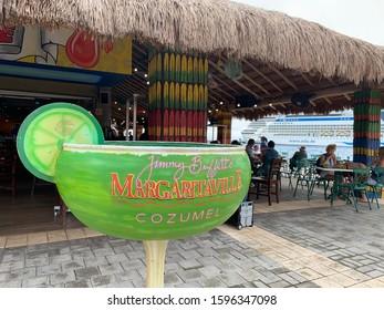 Cozumel, Mexico, December 18, 2019: Margaritaville Restaurant at the Cruise Port in Cozumel Mexico