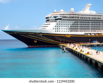 COZUMEL, MEXICO:  JUNE 11, 2018 - The Disney Fantasy cruise line ship docked at Punta Langosta Pier in San Miguel, Cozumel, Mexico