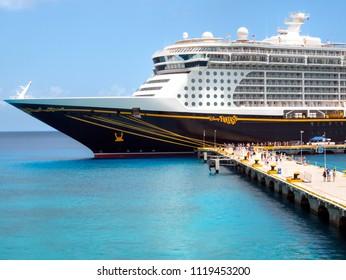 COZUMEL, MEXICO:  JUNE 11, 2018 - The Disney Fantasy cruise ship docked at Punta Langosta Pier in San Miguel, Cozumel, Mexico