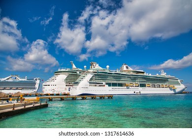 COZUMEL, MEXICO: March 1, 2016: Royal Caribbean was founded in Norway, but is now headquartered in Miami. They operate over 25 ships and sails around the world. They own Celebrity Cruise Lines