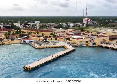 Cozumel Mexico - November 2nd 2016: Duty Free shopping mall in port of Cozumel Mexico November 2nd, 2016
