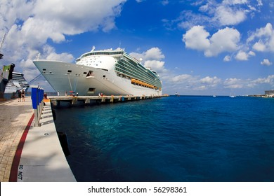 Cozumel Port with Cruise Ship in Turquoise Water