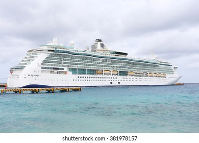 COZUMEL,MEXICO-FEB 6: Royal Caribbean, Brilliance of the Seas docked in Cozumel, Mexico on Feb 6, 2016. Beautiful Radiance-class ship combines sleek swiftness, panoramic vistas, and wide-open space.