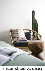 Cozy Armchair with real cactus inthe background /scandinavian style interior /nordic concept