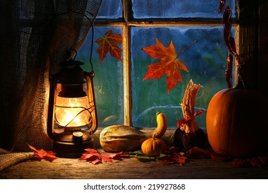 cozy atmosphere with lantern at home