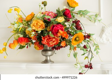 A cozy autumn decor.  Autumn flowers.