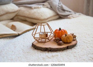 Cozy autumn indoor setting with decorative candle holder and pumpkins on wooden support, fall lifestyle decor