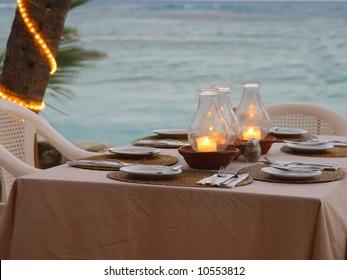 Cozy beach restaurant table setting