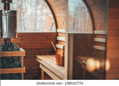 Cozy and beautiful sauna interior