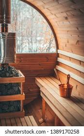 Gemütliches und schönes Sauna-Interieur