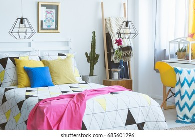 Cozy Bedroom With Colorful Accents, Modern Furniture And Folk Details