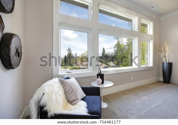 Cozy Bedroom Furnished Blue Reading Chair Stock Photo Edit Now 756481177