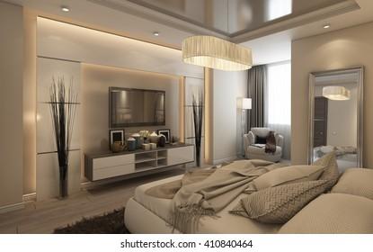 Cozy Bedroom in Hotel Room 3d rendering