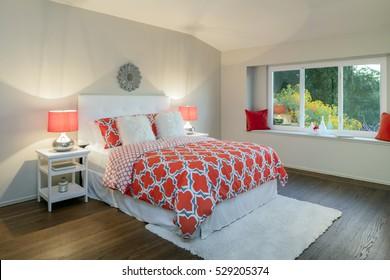 Cozy bedroom interior in beige / orange.