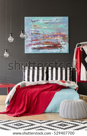 cozy blue black bedroom. Cozy Black And White Bedroom With Red Blue Decorations Cozy B