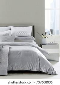Cozy bright bedroom interior. Modern bedroom design
