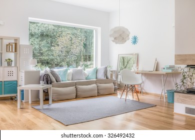 Cozy bright living room and big window