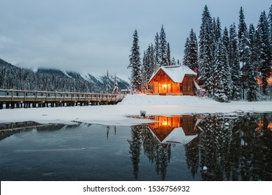 Cozy Cabin in Canada during fall and winter emerald lake waterton lakes national park