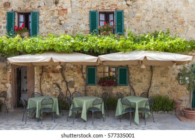 The cozy cafe on the street in Italy