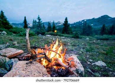 A cozy campfire from camp, 12,237 ft above sea level in the mountains.  The air temperature was 20 degrees, and it began to snow wildly after these pictures were taken.