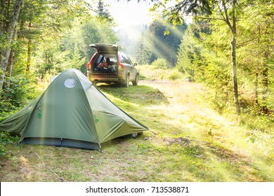 Cozy camping on green sunny lawn with tent and a car