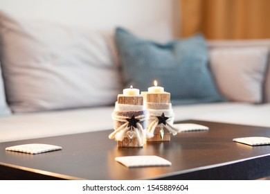 cozy candles in a living room