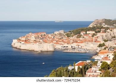 cozy city of Dubrovnik on the Adriatic coast. Summer view. Croatia